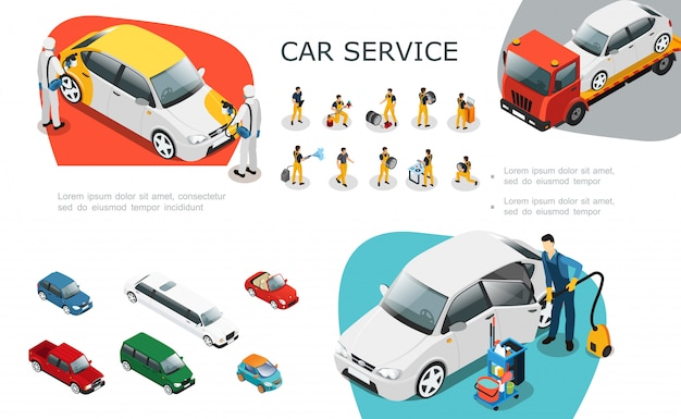 Conjunto de elementos de serviço de carro isométrico com trabalhadores profissionais trocar pneus reparar e lavar assistência automóvel na estrada Vetor grátis