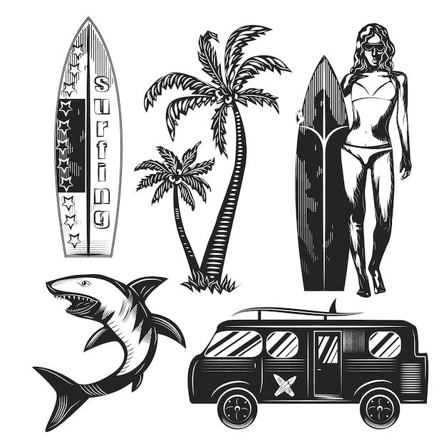 Conjunto de elementos de surf isolado no branco. Vetor Premium