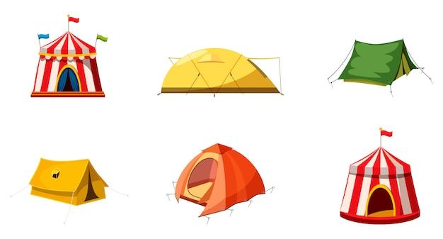Conjunto de elementos de tenda. conjunto de desenhos animados de tenda Vetor Premium