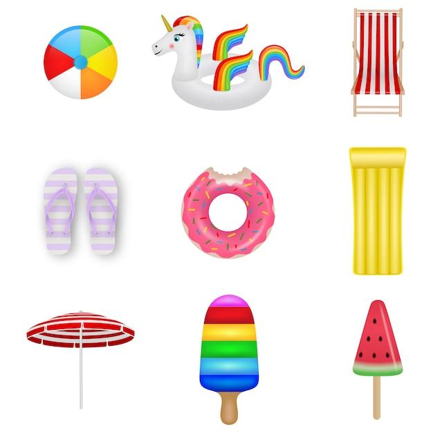 Conjunto de elementos de verão. bola de praia, unicórnio inflável, cadeira de praia, sapatos de chinelo, anel de borracha, colchão inflável, guarda-sol, colchão de sorvete e sorvete Vetor Premium