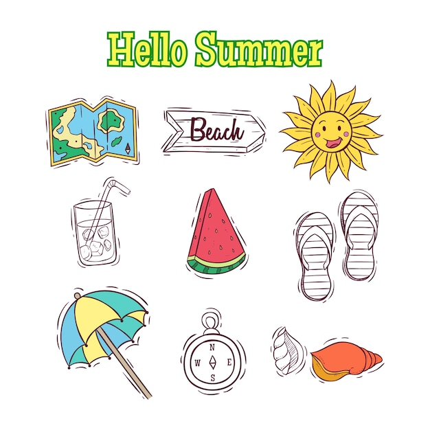 Conjunto de elementos de verão doodle ou elementos com texto de verão olá Vetor Premium