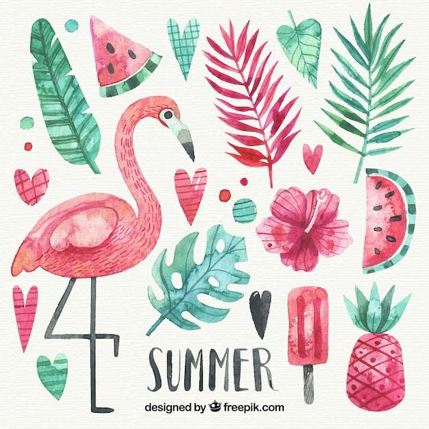 Conjunto de elementos de verão em estilo aquarela Vetor grátis
