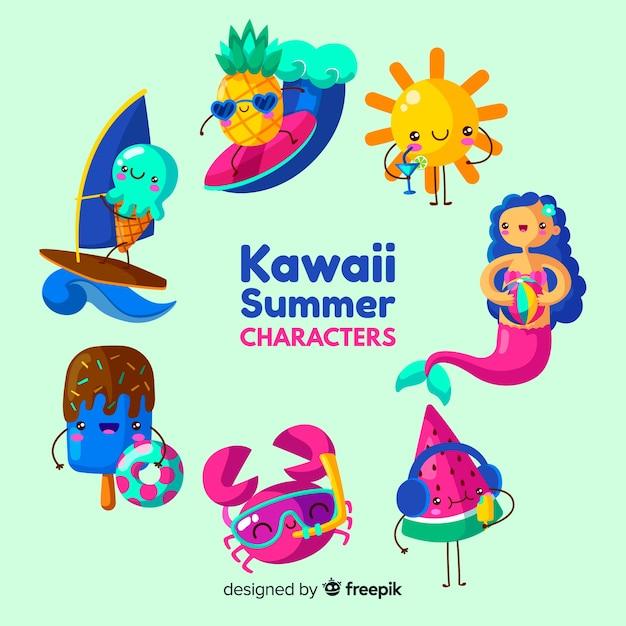Conjunto de elementos de verão kawaii Vetor grátis