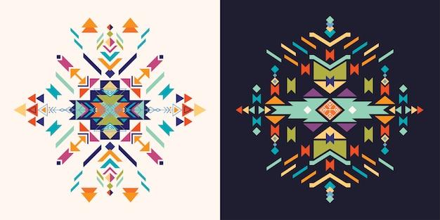 Conjunto de elementos decorativos astecas, Vetor Premium