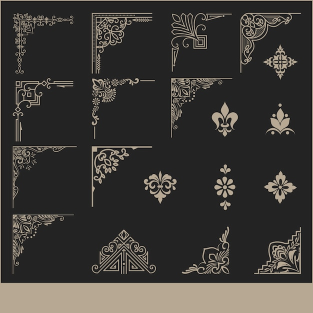 Conjunto de elementos decorativos de canto Vetor grátis