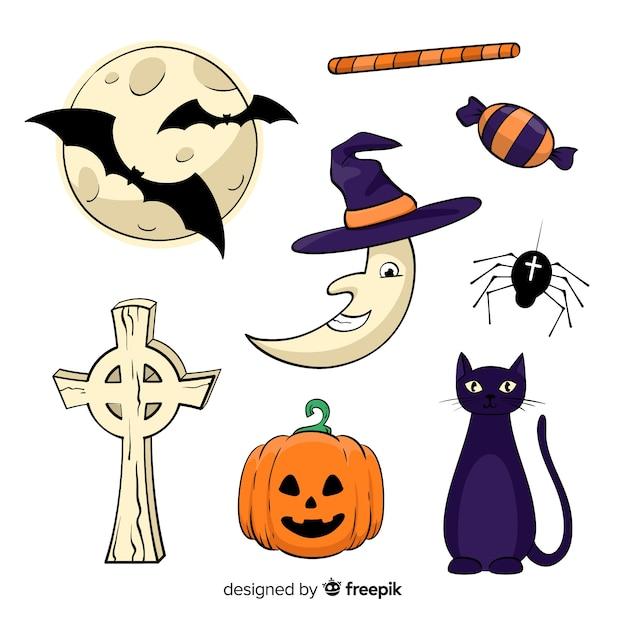 Conjunto de elementos decorativos de halloween em fundo branco Vetor grátis