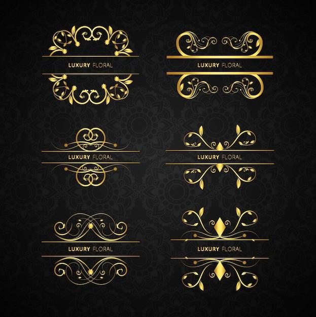 Conjunto de elementos decorativos dourados baixar for Conjunto de espejos decorativos