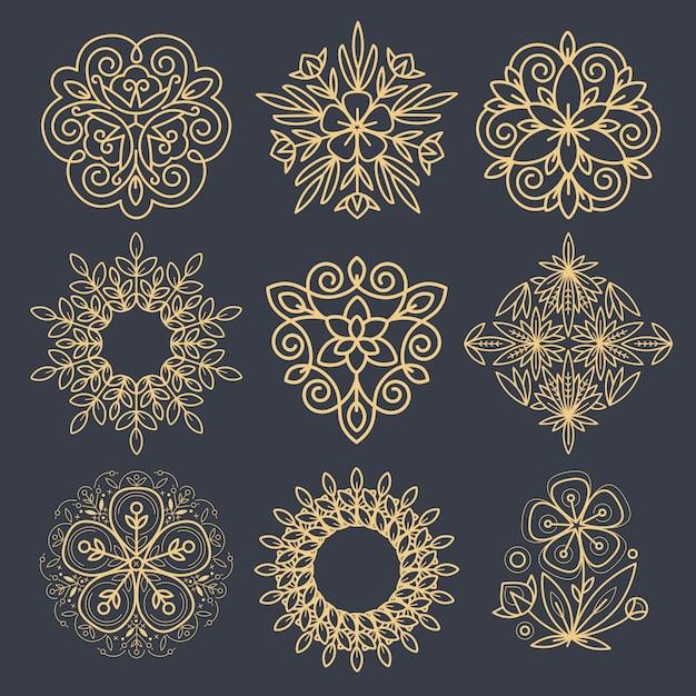 Conjunto de elementos decorativos para criar um logotipo. Vetor Premium