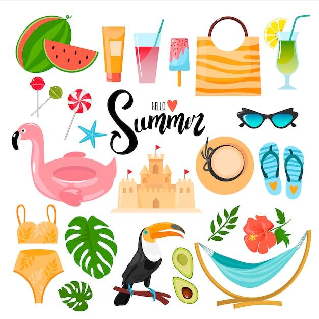 Conjunto de elementos decorativos sobre o tema verão. adequado para a criação de adesivos, cartões postais, brochuras e muito mais. Vetor Premium