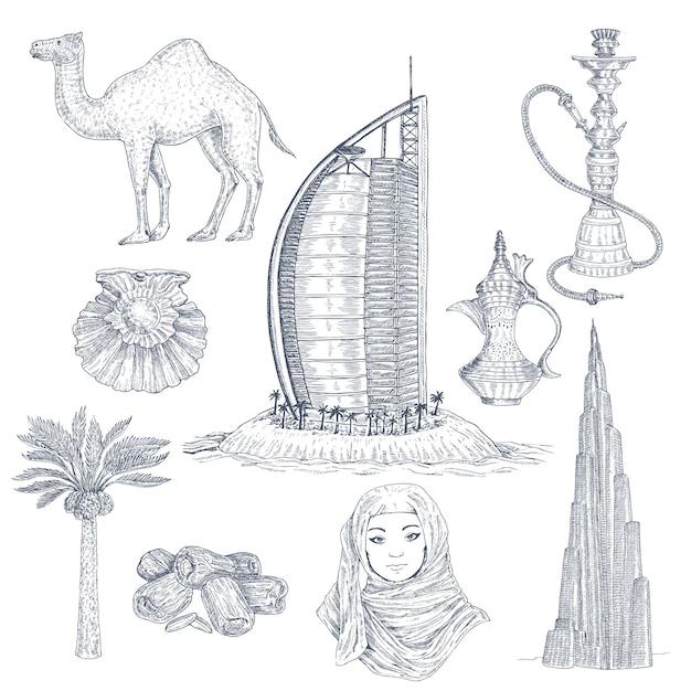 Conjunto de elementos desenhados em dubai Vetor grátis