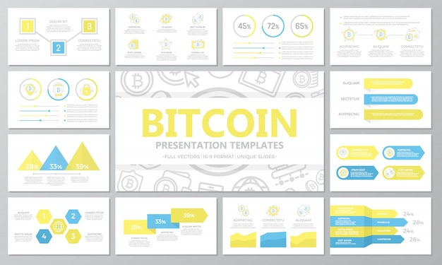 Conjunto de elementos digitais de bitcoin e criptomoeda para slides de modelo de apresentação multiuso. Vetor Premium