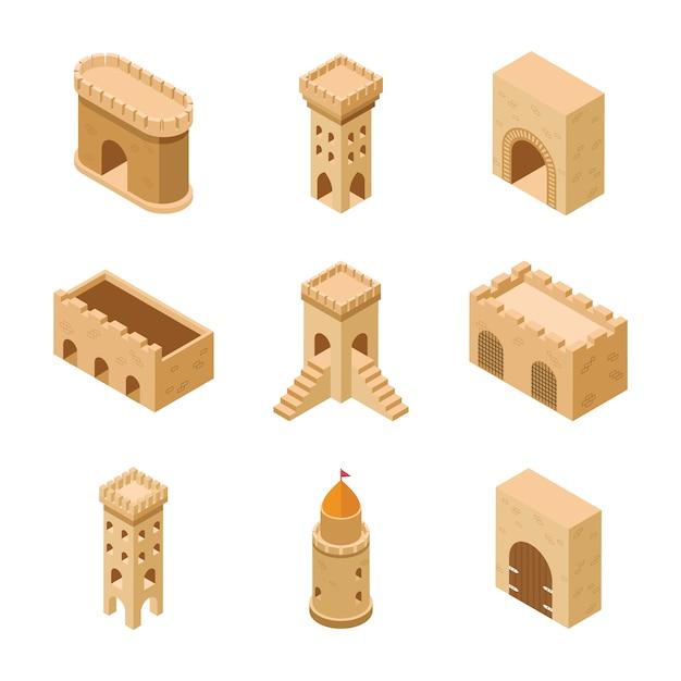 Conjunto de elementos do castelo medieval Vetor Premium