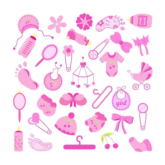Conjunto de elementos do chuveiro de bebê no fundo branco. ilustração Vetor Premium