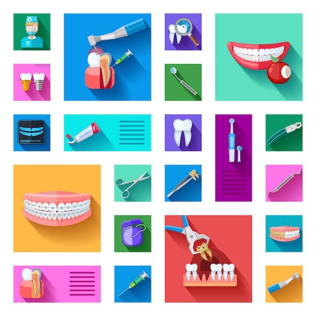 Conjunto de elementos do dentista Vetor grátis