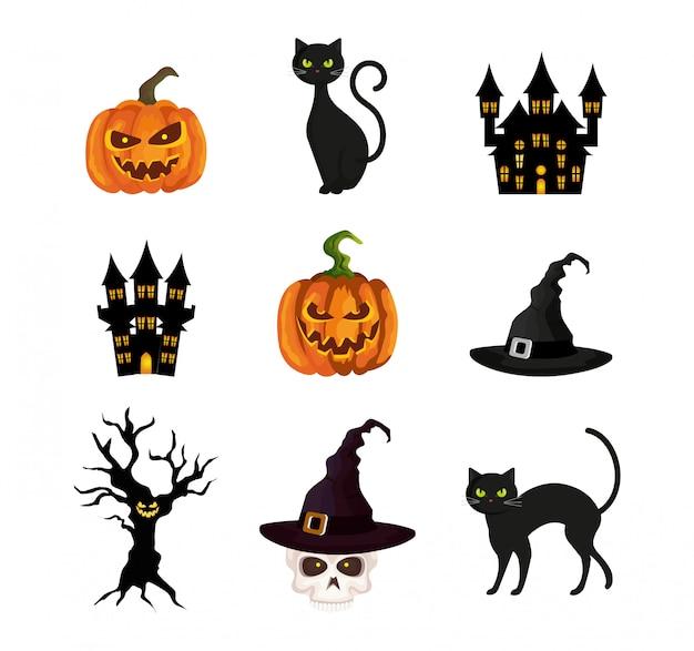 Conjunto de elementos do dia das bruxas Vetor grátis