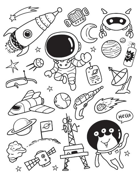 Conjunto de elementos do espaço galazy doodle Vetor Premium