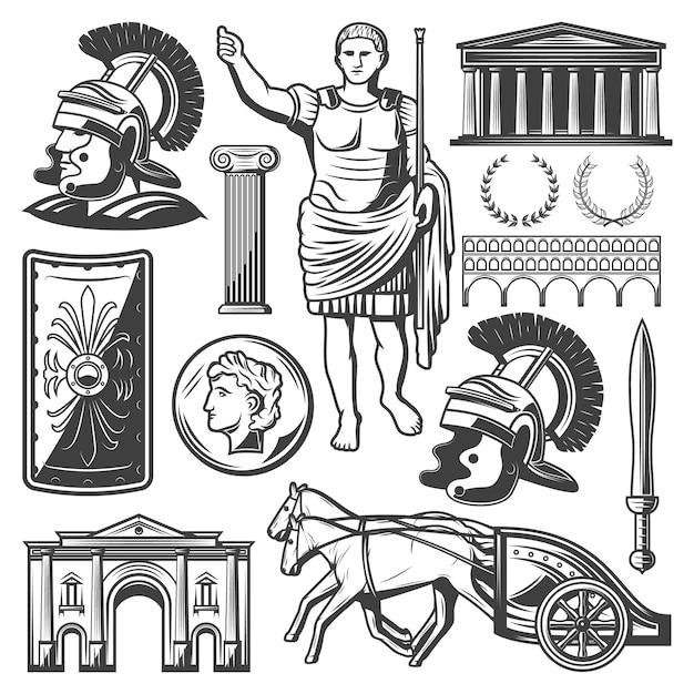 Conjunto de elementos do império romano vintage com espada de gladiador Vetor grátis