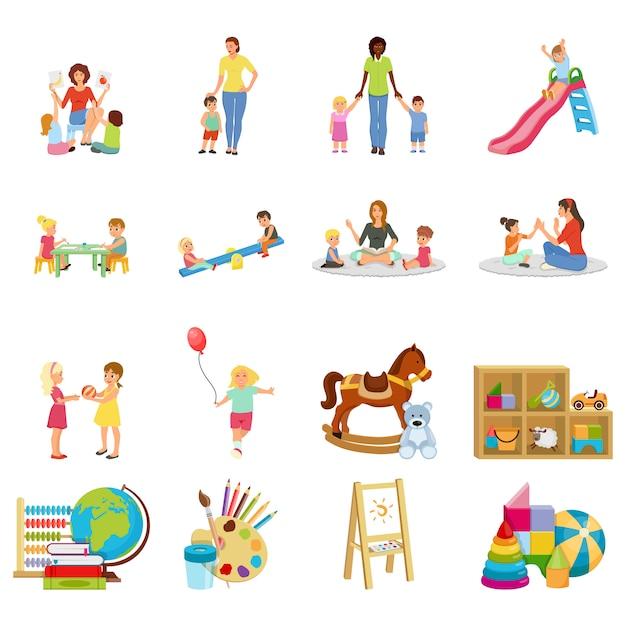 Conjunto de elementos do jardim de infância Vetor grátis