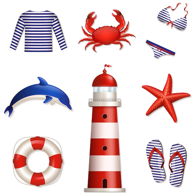 Conjunto de elementos do mar e praia Vetor Premium