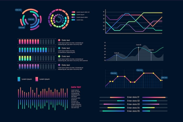Conjunto de elementos do painel infográfico Vetor grátis