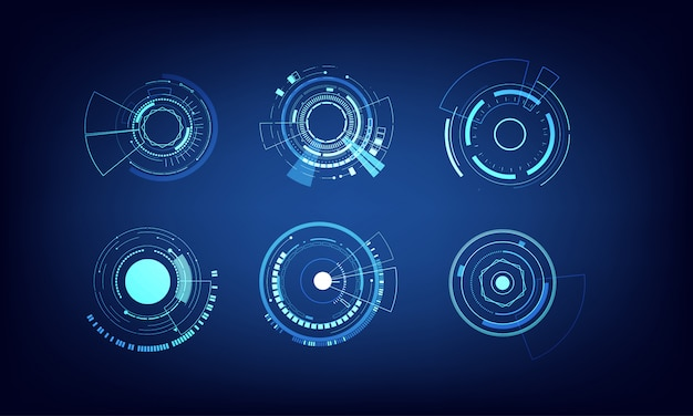 Conjunto de elementos do vetor design de círculo de tecnologia Vetor Premium