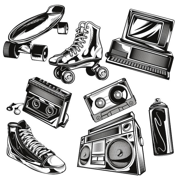 Conjunto de elementos dos anos 80 Vetor grátis