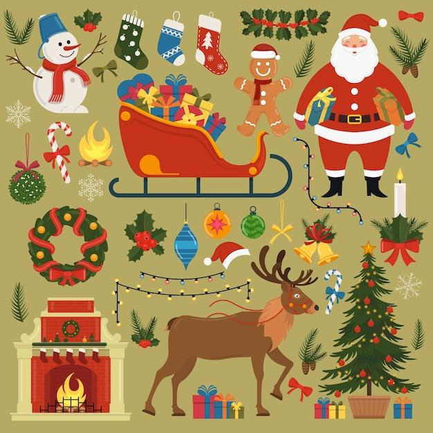 Conjunto de elementos e decorações de natal e ano novo. ilustração. Vetor Premium