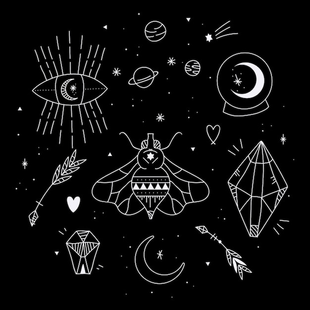 Conjunto de elementos esotéricos Vetor grátis