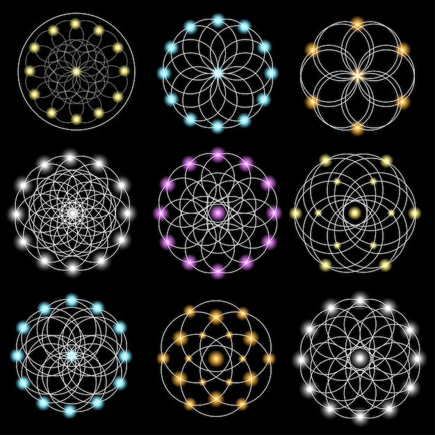 Conjunto de elementos geométricos abstratos e formas em fundo preto. Vetor Premium