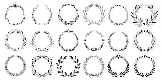 Conjunto de elementos gráficos florais de casamento coroa de flores, divisores, louro. design de convite decorativo. Vetor Premium