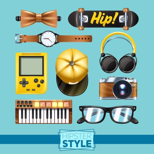 Conjunto de elementos hipster com teclado de relógio de pulso de óculos isolado Vetor grátis