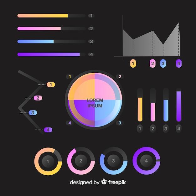 Conjunto de elementos infográfico gradiente Vetor grátis
