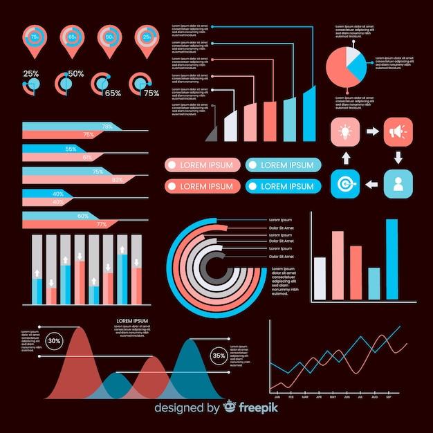 Conjunto de elementos infográfico plana Vetor grátis