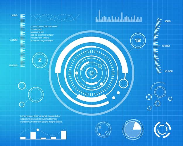 Conjunto de elementos infográficos brancos. head-up elementos de exibição para a web e aplicativo. interface de usuário futurista. gráfico virtual. Vetor Premium