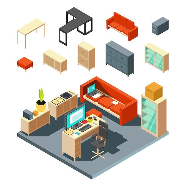 Conjunto de elementos interiores do escritório isométrico. ilustração em vetor de estilo simples. interior com mesa e poltrona Vetor Premium