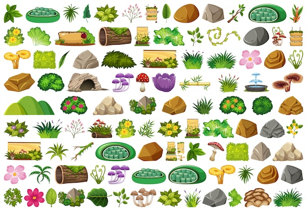 Conjunto de elementos isolados sobre jardinagem Vetor Premium