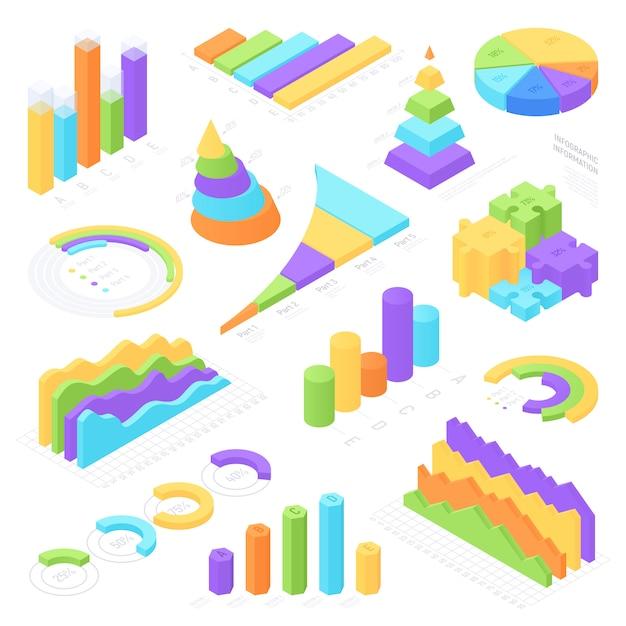 Conjunto de elementos isométrica infográfico colorido Vetor Premium