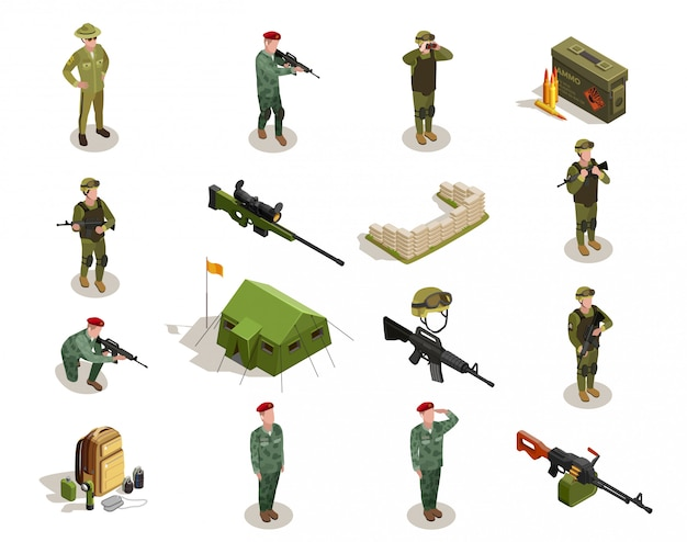 Conjunto de elementos isométrica militar do exército Vetor grátis