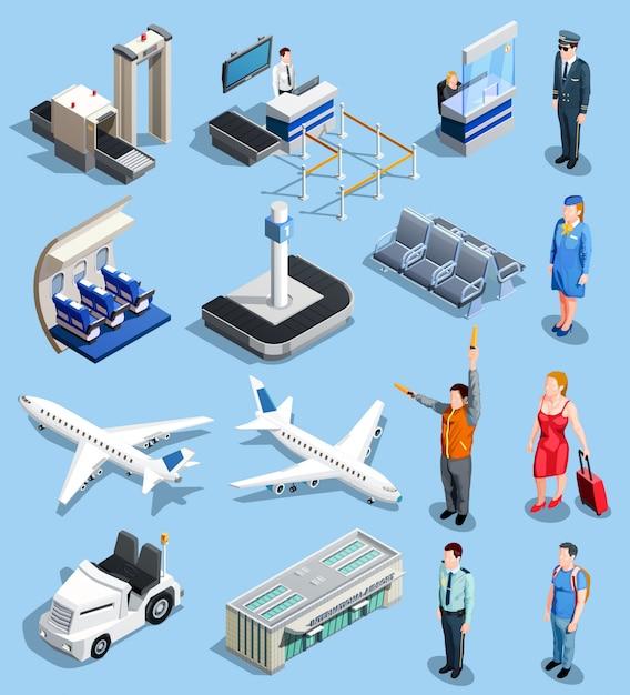 Conjunto de elementos isométricos de aeroporto Vetor grátis