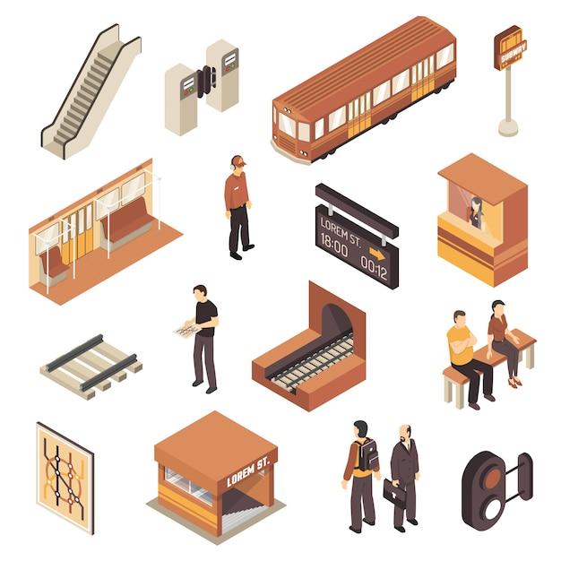 Conjunto de elementos isométricos de estação de metro de metrô Vetor grátis