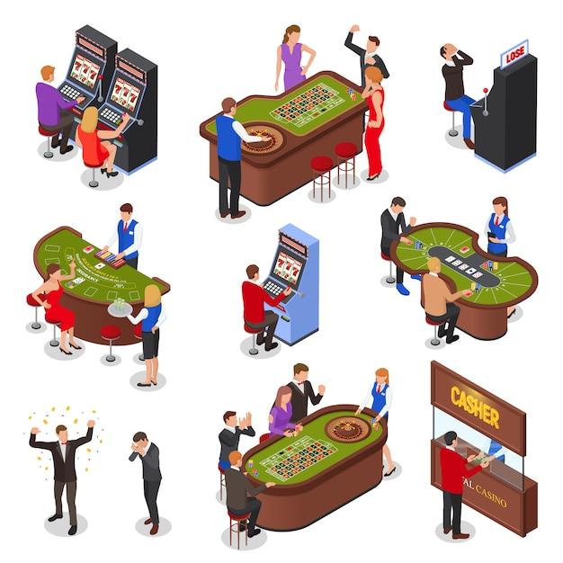 Conjunto de elementos isométricos de sala de jogo de cassino com caça-níqueis roleta blackjack cartas jogos ilustração isolado Vetor grátis