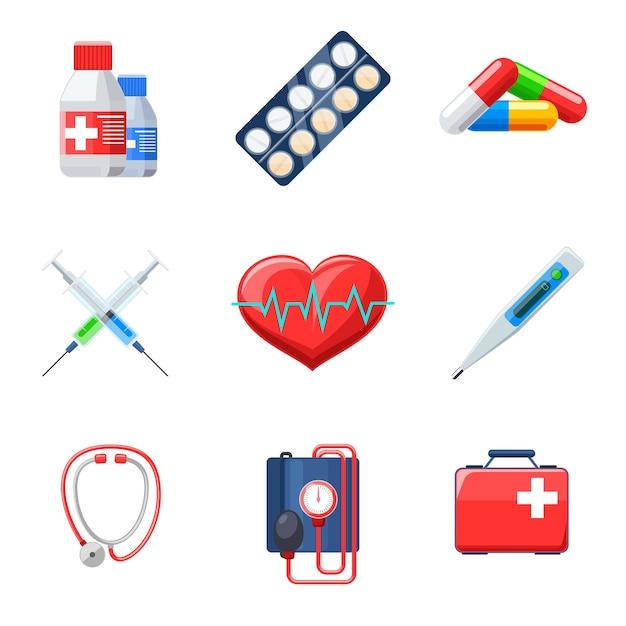 Conjunto de elementos médicos planos. cápsula do medicamento da terapia do batimento cardíaco do tonômetro do termômetro do comprimido. Vetor grátis