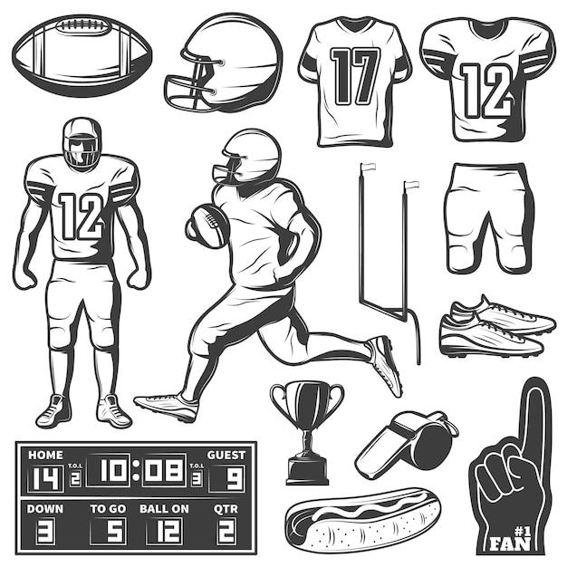 Conjunto de elementos monocromáticos de futebol americano com comida de troféu de jogadores de roupas e equipamentos esportivos Vetor grátis