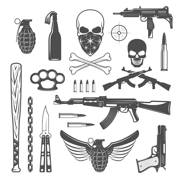 Conjunto de elementos monocromáticos de gangster Vetor grátis