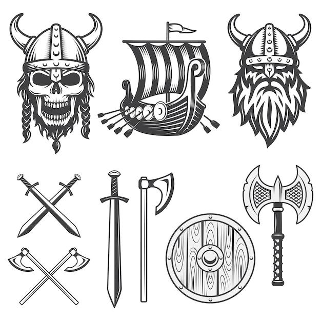 Conjunto de elementos monocromáticos viking isolados no fundo branco Vetor grátis