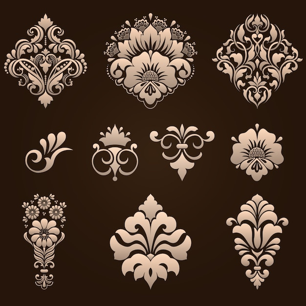 Conjunto de elementos ornamentais damasco Vetor grátis