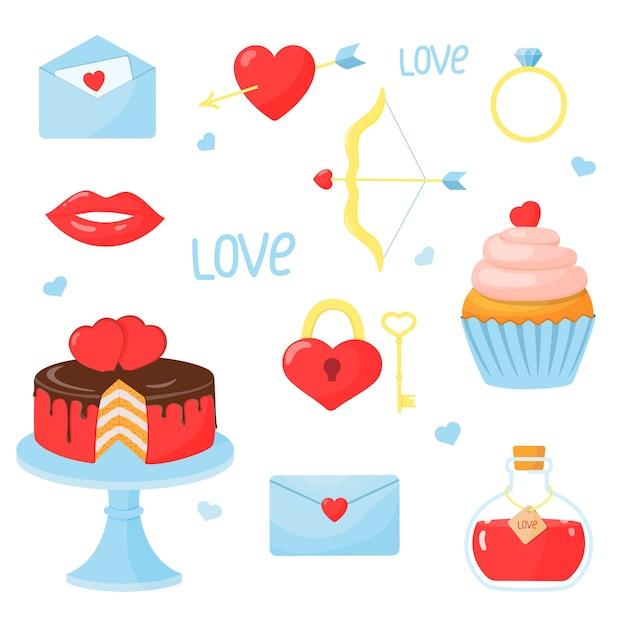 Conjunto de elementos para o dia dos namorados: coração, bolo, bolinho, flecha e arco, anel, carta, elixir do amor, fechadura com chave. ilustração em estilo cartoon. Vetor Premium