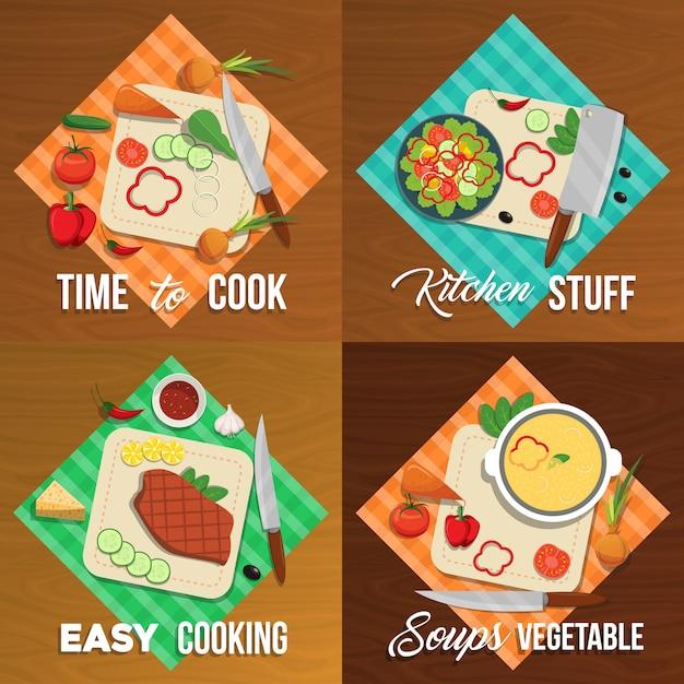 Conjunto de elementos plana de legumes Vetor Premium
