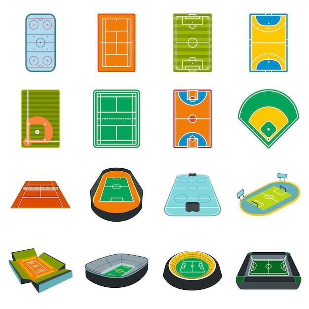 Conjunto de elementos plana do estádio isolado Vetor Premium