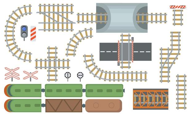 Conjunto de elementos planos de ferrovia e ferrovia. vista superior da coleção de ilustração vetorial isolado de linhas de trem e estação ferroviária. vista de cima. conceito de mapa de construção e industrial Vetor grátis